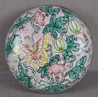 19c Chinese scholar Canton enamel SEAL PASTE BOX butterfly melons