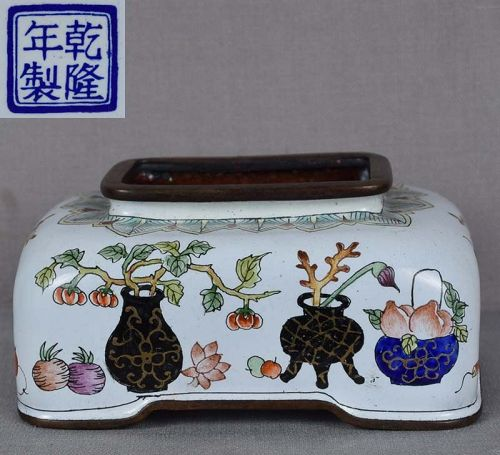 Chinese Canton enamel COUPE scholar items Qianlong