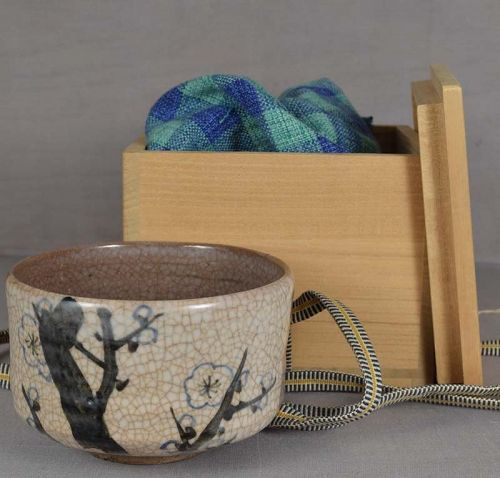 1910s Shigaraki CHAWAN tea ceremony bowl APRICOT FLOWERS