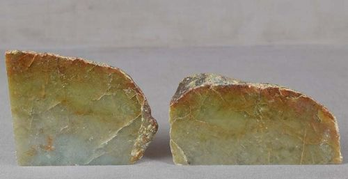 Pair of vintage Chinese scholar JADEITE SCROLL WEIGHTS