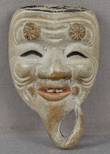 19c mask netsuke OKINA ex Royal Collection