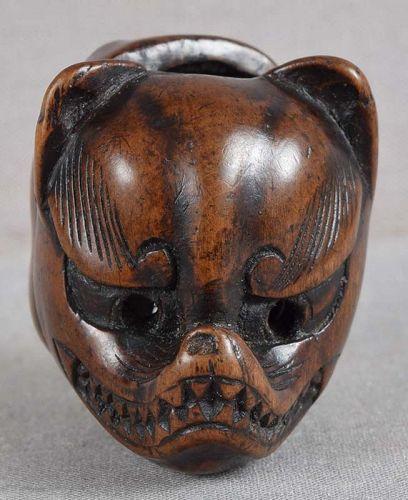Early 19c netsuke FOX & USOFUKI masks