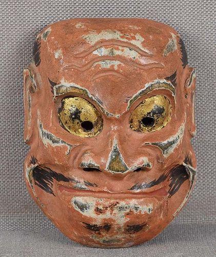 19c mask netsuke BISHAMON