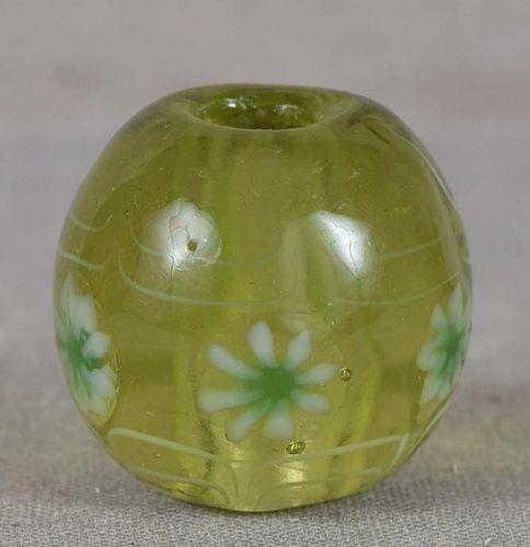 Japanese glass OJIME tombodama LEAVES & FLOWERS