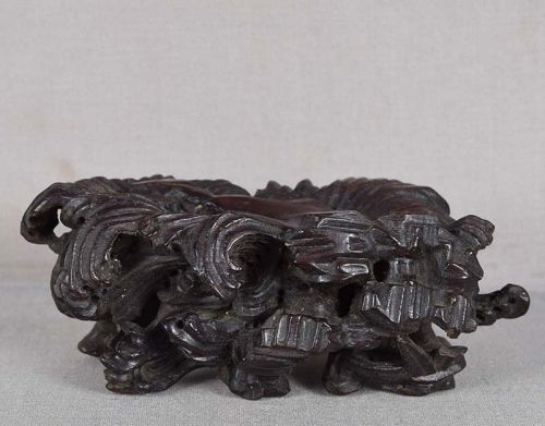 19c Chinese wooden STAND waves
