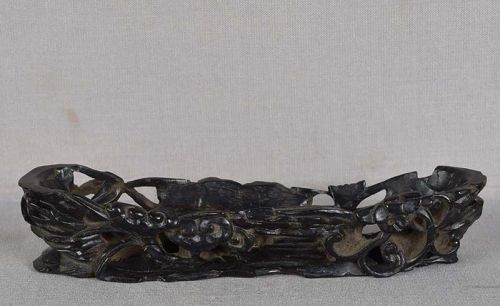 19c Chinese ebony STAND Fungus of Immortality, bamboo, flowers
