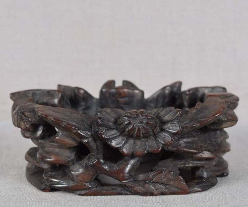 19c Chinese wooden STAND rocks, flowers