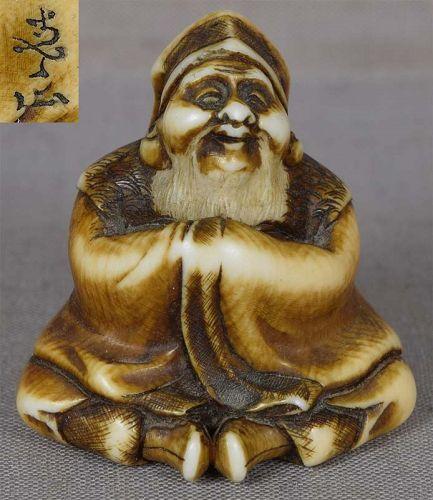 19c netsuke DAIKOKU God of Wealth by KOZAN