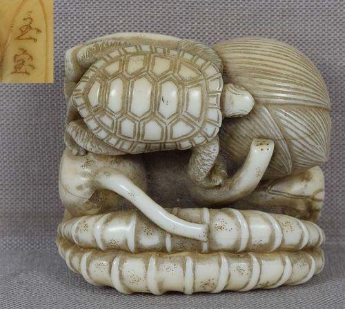19c netsuke TURTLE on lotus by GYOKUHO