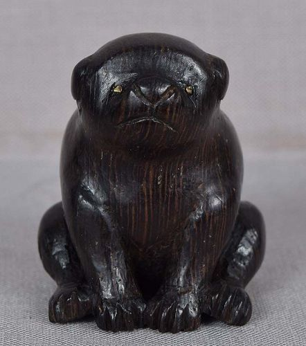 19c wooden netsuke PUPPY