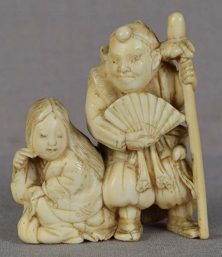 Early 19c netsuke YAMABUSHI warrior priest & MAID