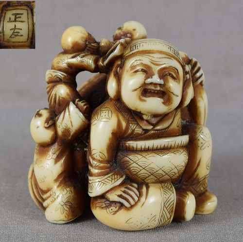 Early 19c netsuke DAIKOKU & 3 boys by MASATOMO