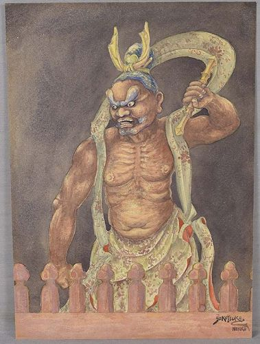 1910s Japanese watercolor NIO Temple Guardian by YOKOTSUKA