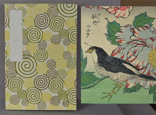 1910s Japanese book of 14 different BIRD PRINTS
