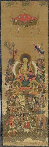 1817/1819 Japanese painting BUDDHA & HEART SUTRA by FUJIHI CHOBI