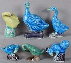 Six 19c Chinese porcelain BIRD sculptures