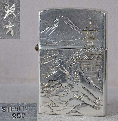 1920s Japanese silver cigarette lighter by KAKUMU