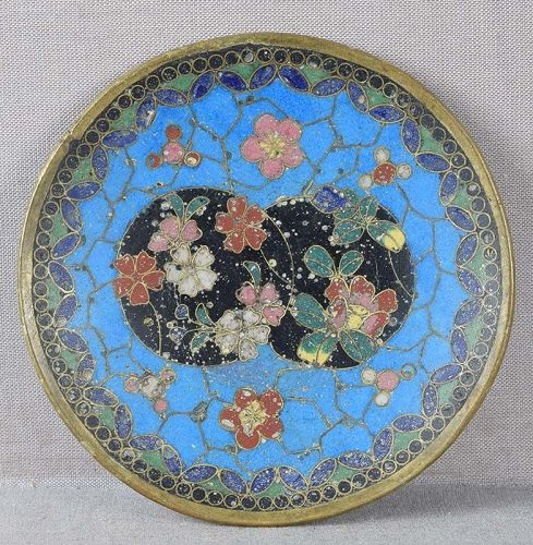 Early 19c Japanese cloisonne small PLATE flowers tea ceremony