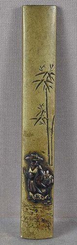 19c sentoku Japanese sword KOZUKA SCHOLAR & attendant under bamboo
