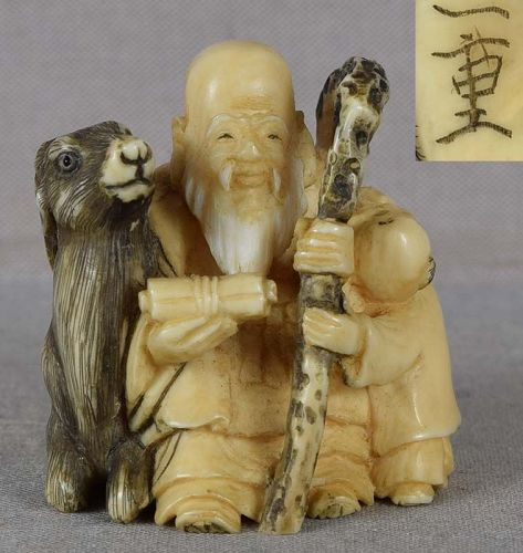 19c netsuke Lucky God JUROJIN with deer & boy by KAZUSHIGE
