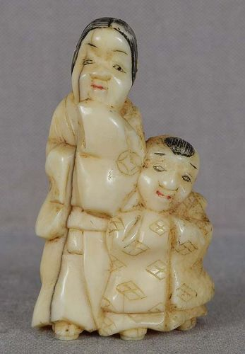 19c marine netsuke MOTHER & SON