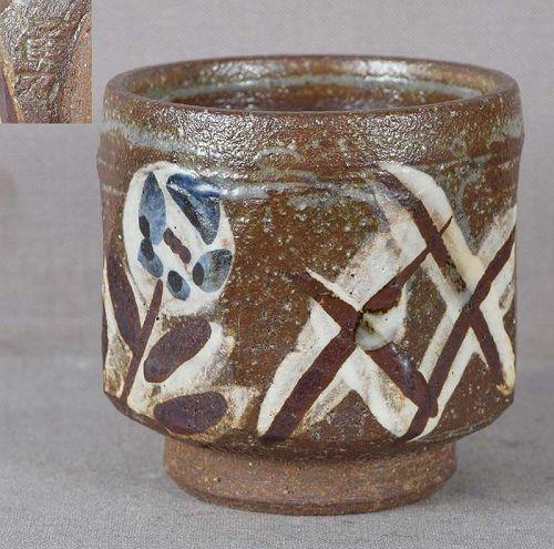 1930s Japanese BIZEN SAKE CUP painted marked