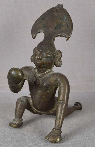 19c Indian bronze KRISHNA the butter thief