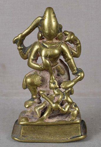 18c Indian bronze GODDESS DURGA slaying demon Mahishasura