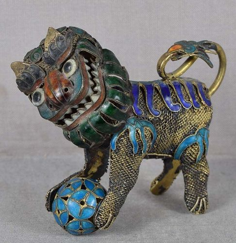 19c Chinese silver filigree BUDDHIST LION moveable head