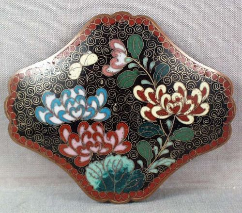 19c Japanese cloisonne BELT BUCKLE butterfly & peony