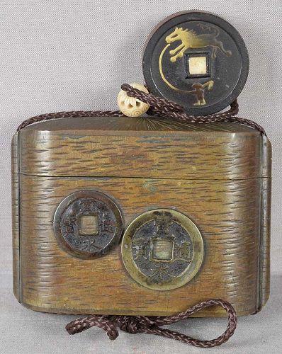 19c inro Japanese tobacco box COINS & COIN horse netsuke