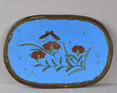 19c Japanese cloisonne tea ceremony tray FLOWERS BUTTERFLY