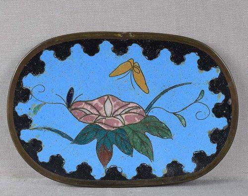 19c Japanese cloisonne tray tea ceremony MORNING GLORY