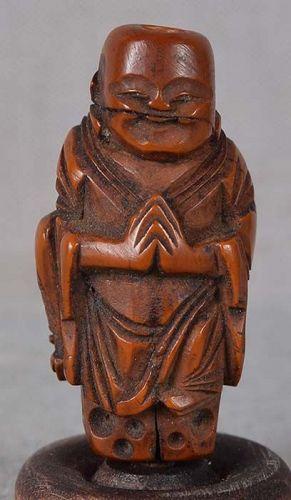 19c OJIME netsuke slide Buddhist MONK