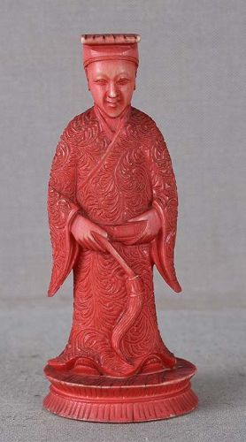 19c Chinese export CHESS PIECE red bishop