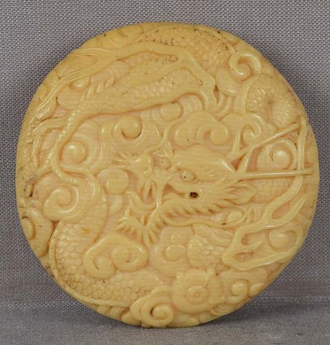 1910s celluloid netsuke DRAGON  with Sacred Pearl