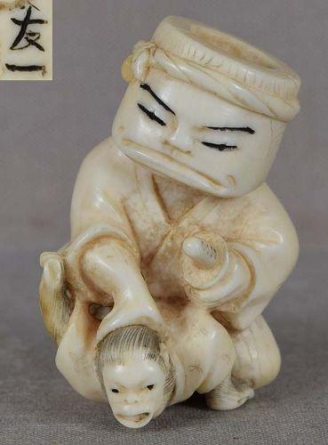 19c netsuke Tree-Stump-Head SAMURAI subduing monkey by TOMOKAZU