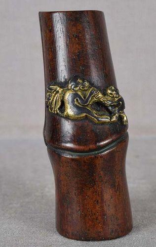 19c netsuke gilded MONKEYS on bamboo