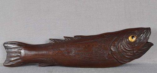 Large 19c netsuke realistic FISH 20 cm