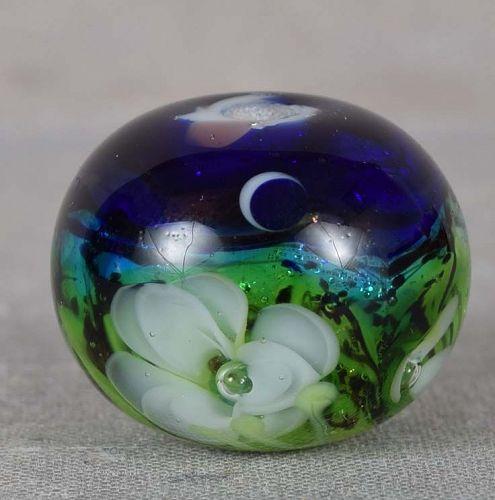Japanese glass OJIME tombodama ROSES under MOON