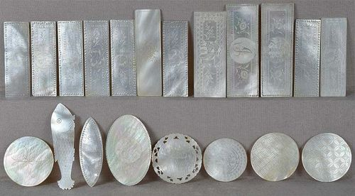 20 mother of pearl 19c Chinese export LOO CHIPS / COUNTERS