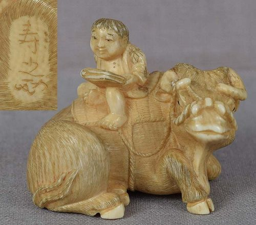 19c netsuke BOY on buffalo by TOSHIYUKI