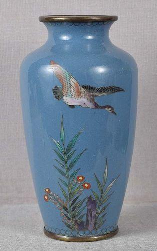 Meiji Japanese cloisonne vase DUCK flowers rocks