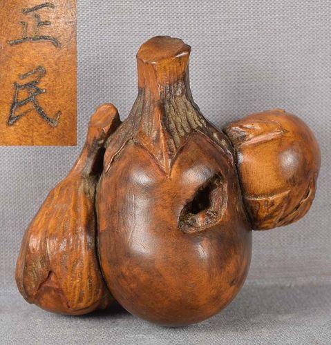 Meiji burlwood netsuke 3 EGGPLANTS by MASAMIN