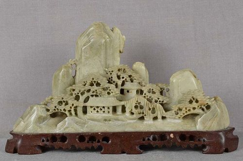 1910s Chinese scholar soapstone BRUSH REST rocks trees pavilions