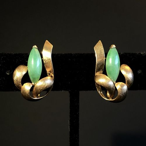 Vintage Mid-Century 14K Gold Natural Jadeite Floral Earrings
