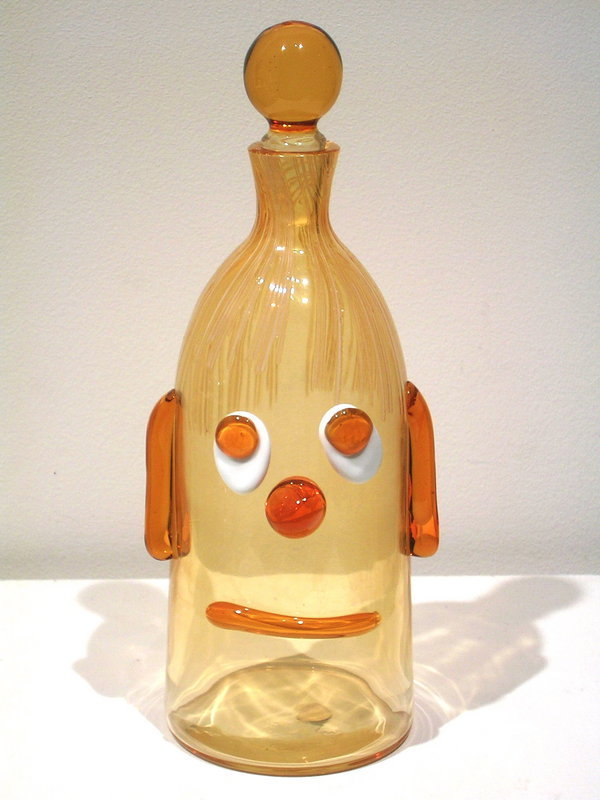 Stylized Murano glass face decanter by Fratelli Toso