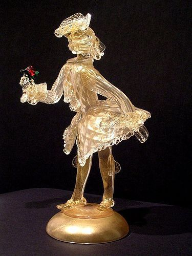 Murano Glass Figurine of the Rosen Cavalier attr to Archimede Seguso