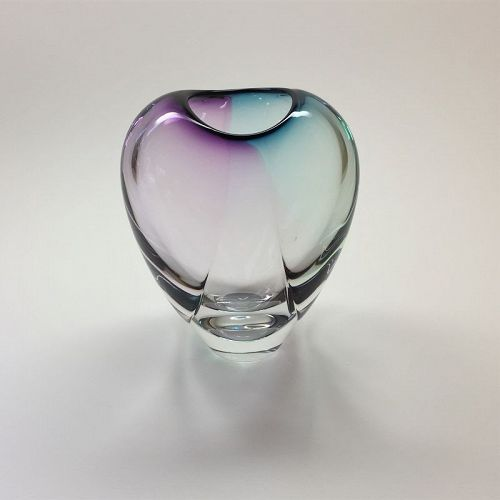 Gonzalez Crystal, Blue Amethyst Glass Vase