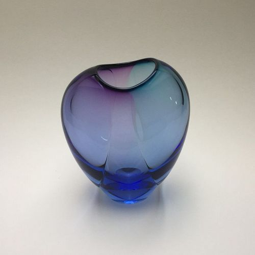 Don Gonzalez Ice-blue with Turkish Blue and Amethyst Glass Vase